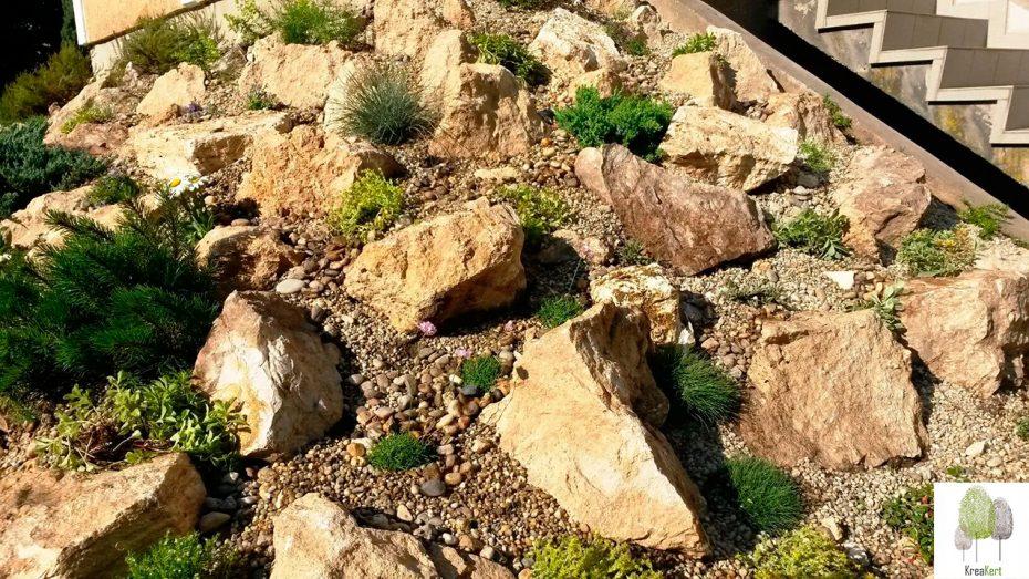Frissen telepitett sziklakert, Fót