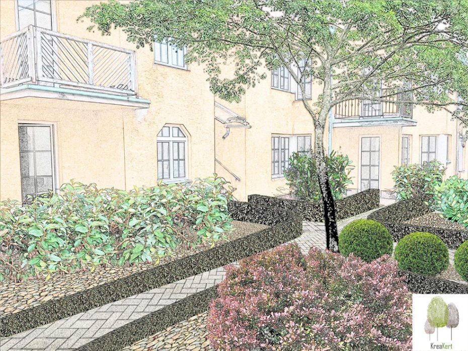 Kertterv részlet, apartmanház belső udvar, színes sketch