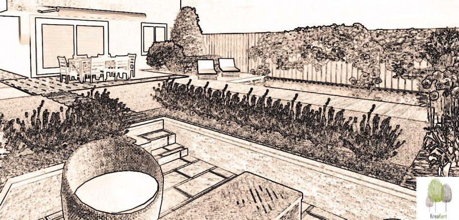 Kertterv részlet, társasházi lakás, Budaörs