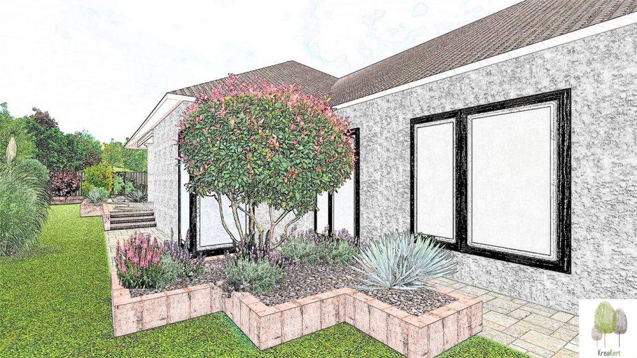 Kertterv részlet, családi ház, Fót, színes sketch